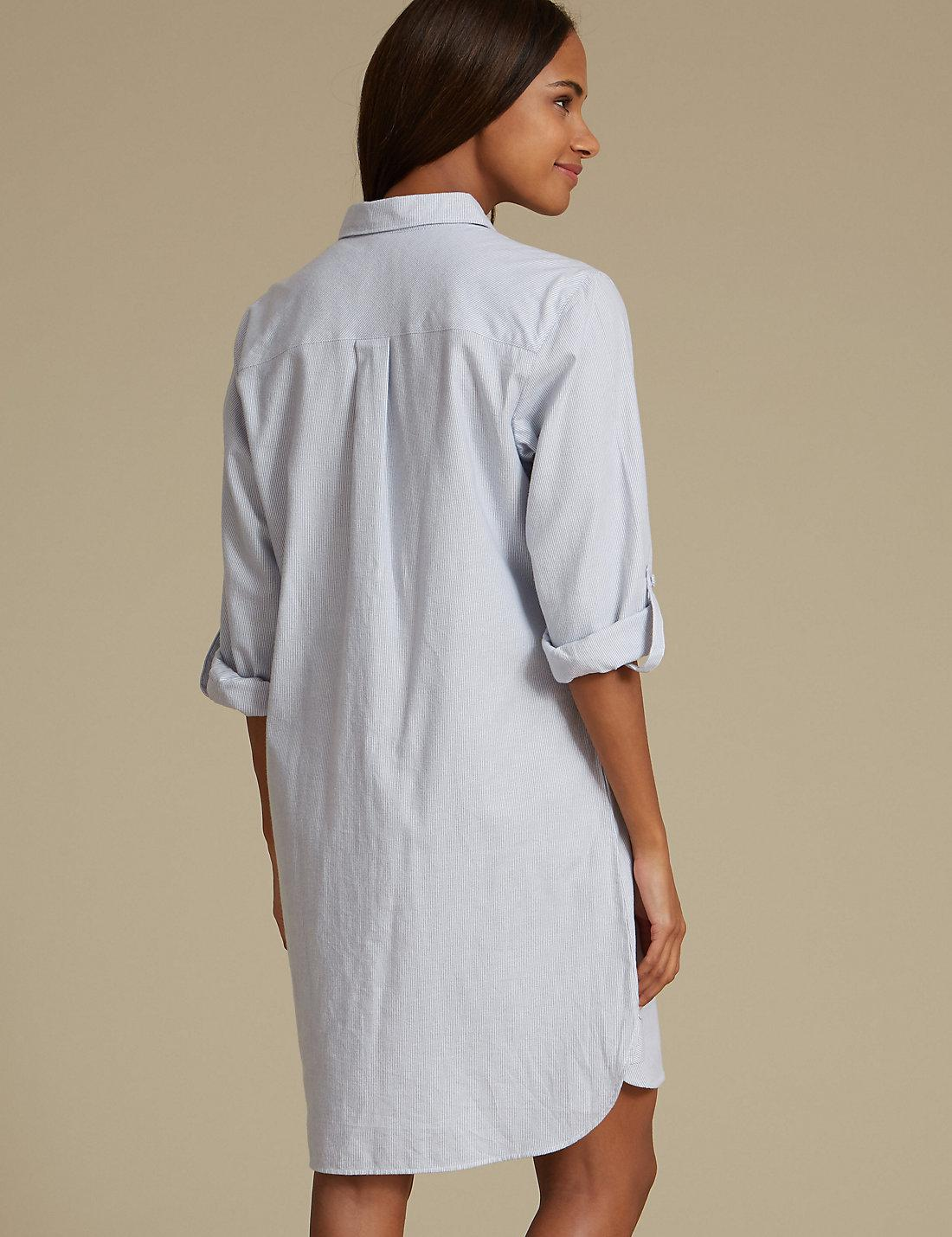 27cbaf4f89 Lyst - Marks   Spencer Pure Cotton Striped Nightshirt in Blue