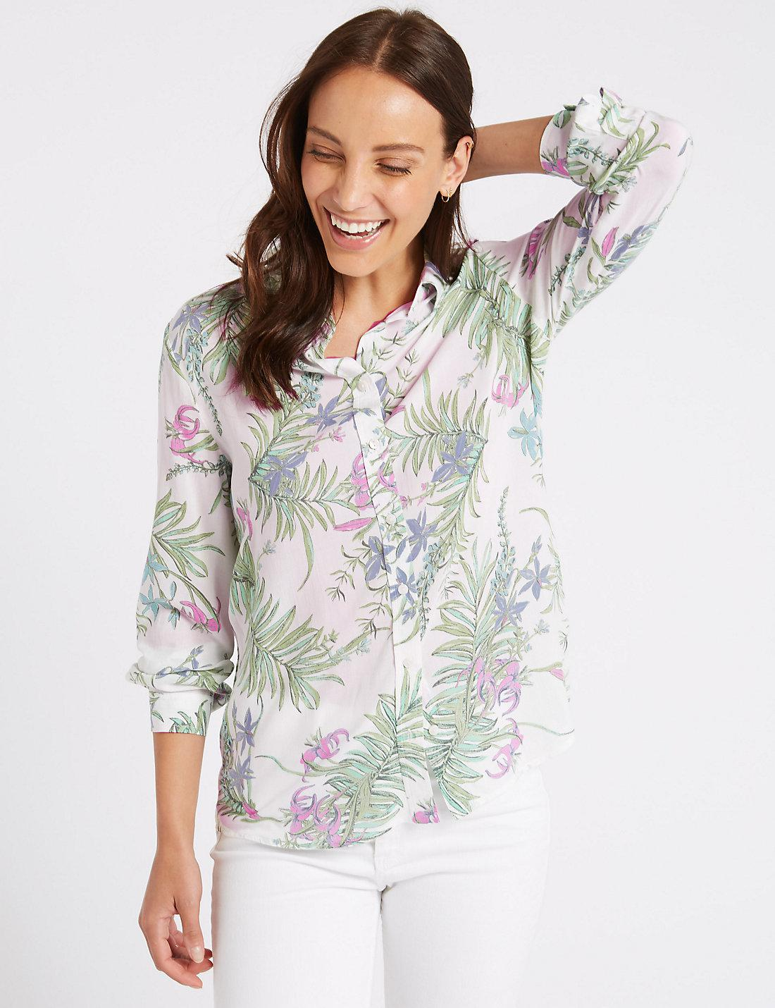 Pure Modal Floral Print Long Sleeve Shirt ivory mix Marks and Spencer Buy Cheap 100% Original Quality Original Cheap Price Wholesale Price f6FhzVGKl