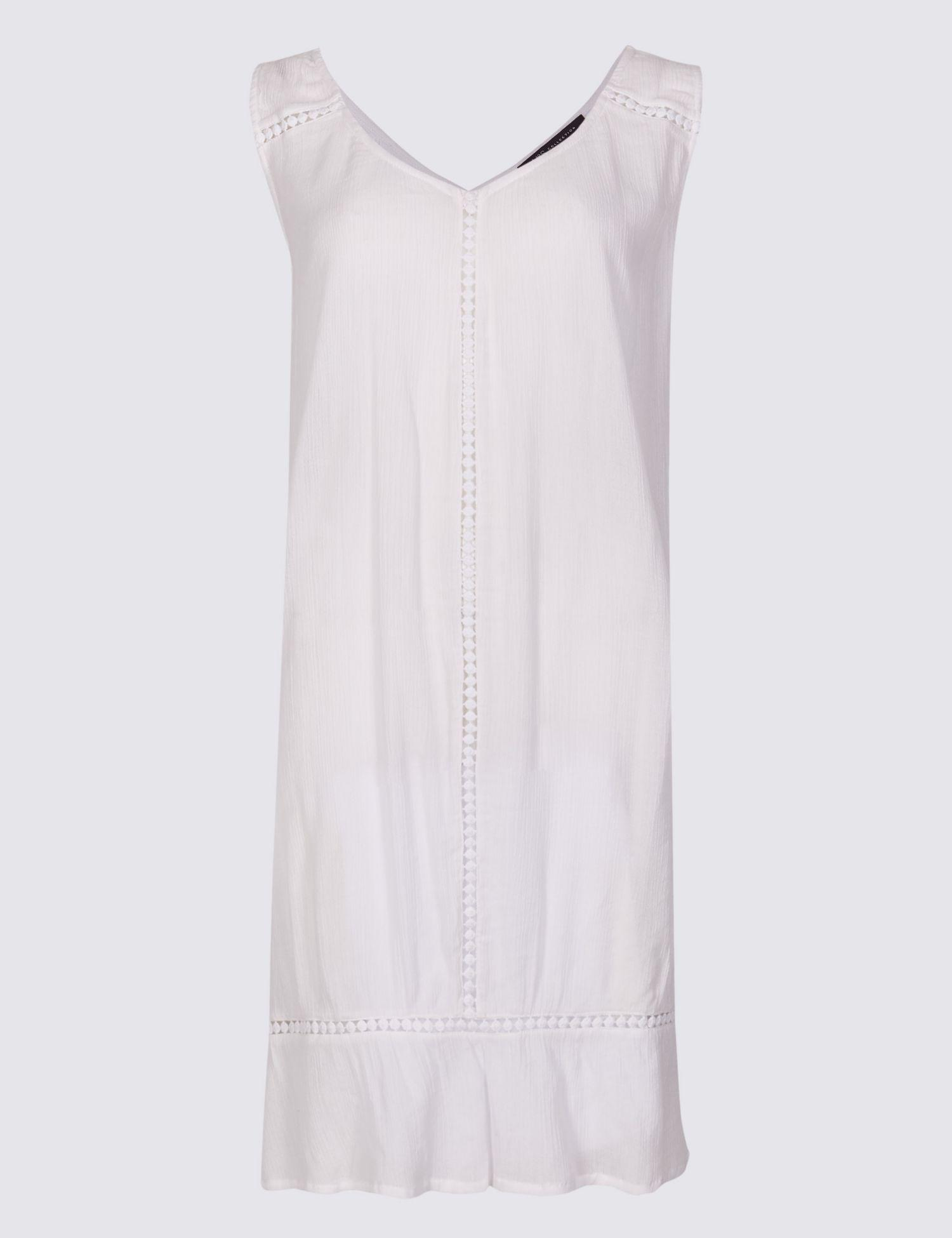 e6d1e761ef0 Marks   Spencer Cotton Rich Crinkle Swing Beach Dress in White - Lyst