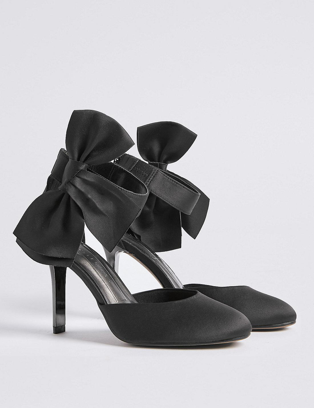 ac2b2197c35 Lyst - Marks   Spencer Stiletto Bow Satin Two Part Court Shoes in Black