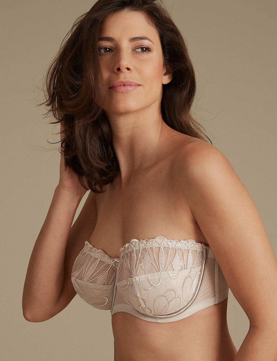 9ee7223e094 Lyst - Marks   Spencer Embroidered Non-padded Strapless Bra DD-GG in ...