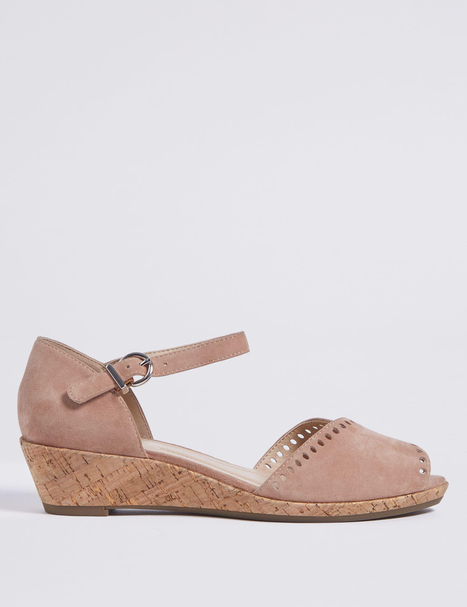 bcc0624b181 Marks   Spencer Wide Fit Suede Wedge Sandals in Pink - Lyst