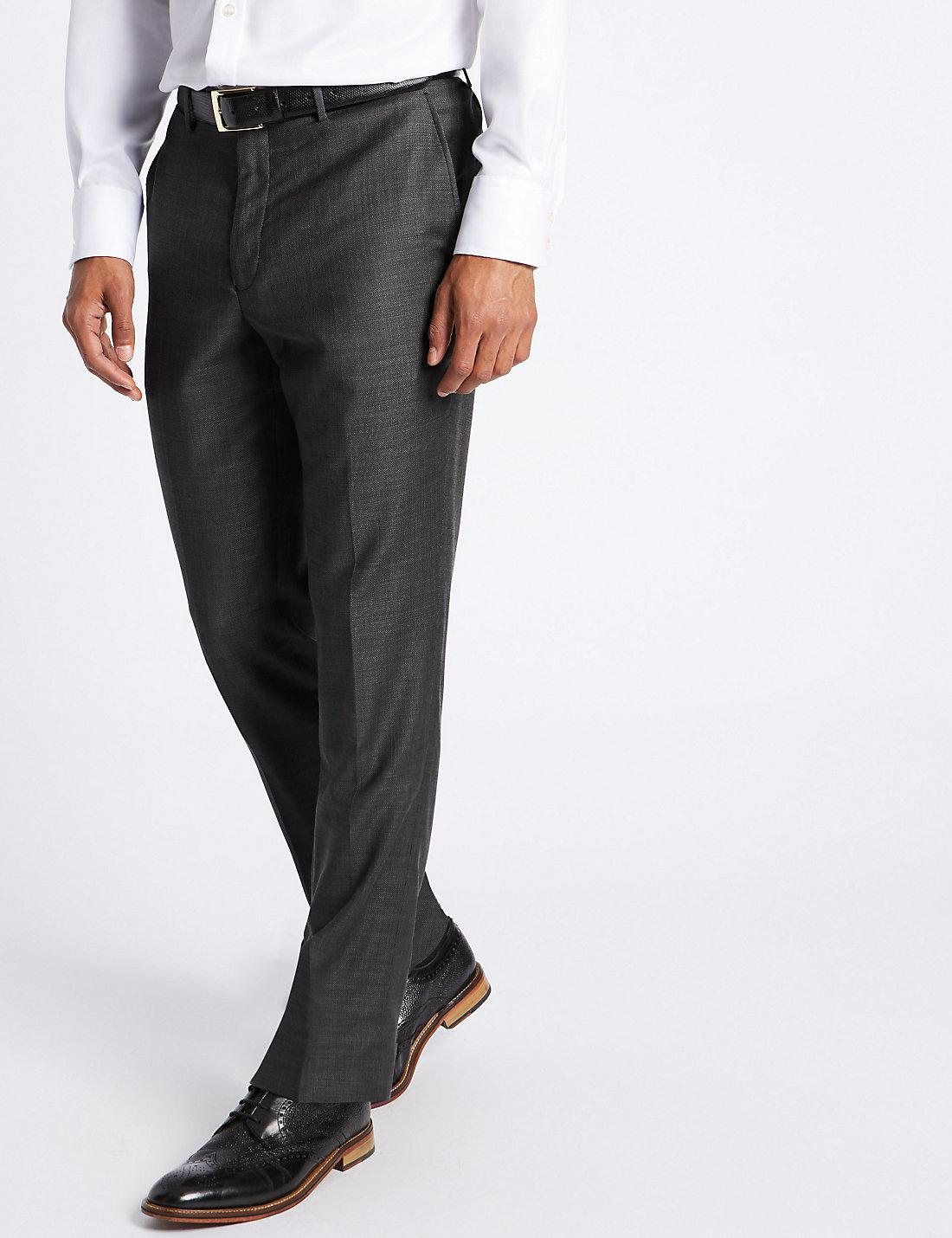 Marks and Spencer Tailored Fit Pure Wool Textured Trousers charcoal mix
