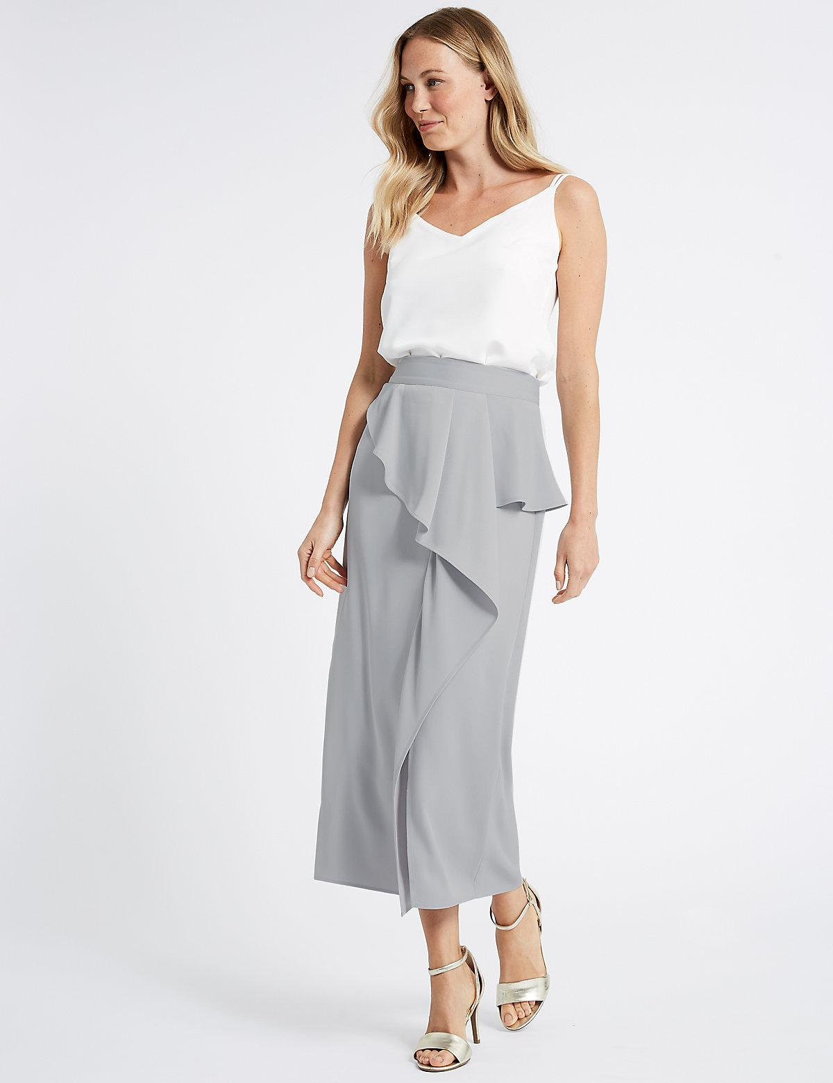 Buy Cheap Low Shipping Fee Frill Maxi Skirt silver grey Marks and Spencer Cheap Sale Discounts Sale Shopping Online Clearance Store Cheap Price Ke7Bje62f