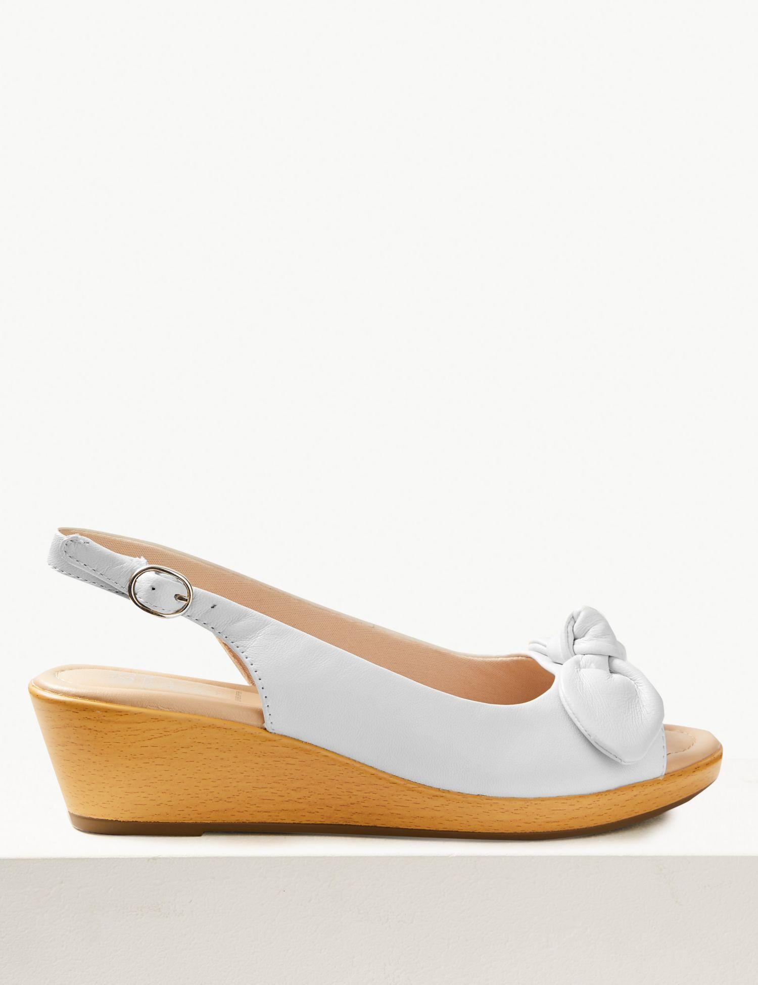 986a9913de0 Marks & Spencer Wide Fit Suede Wedge Heel Slingback Sandals in White ...
