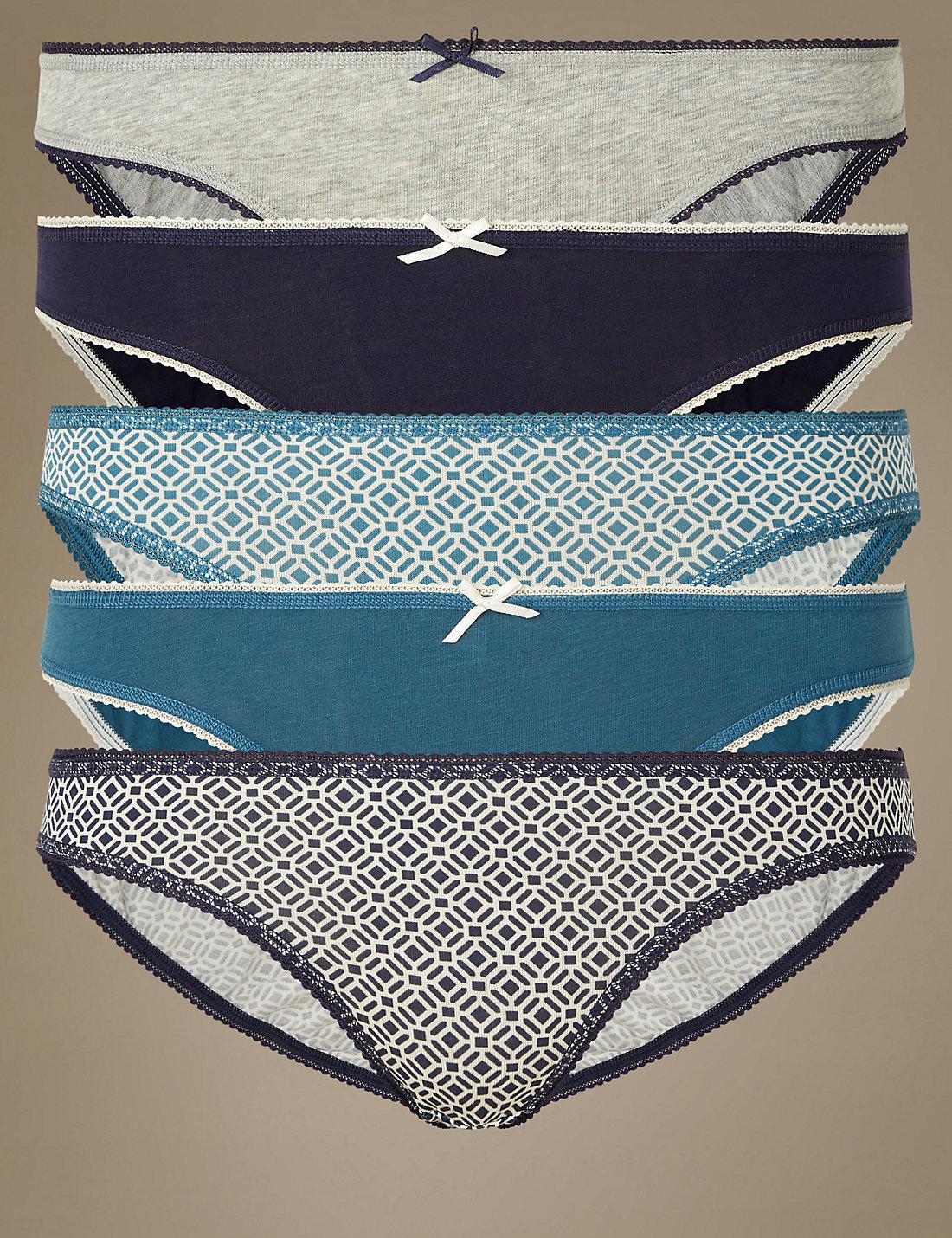 Marks   Spencer 5 Pack Cotton Rich Bikini Knickers in Blue - Lyst 89be01ac0