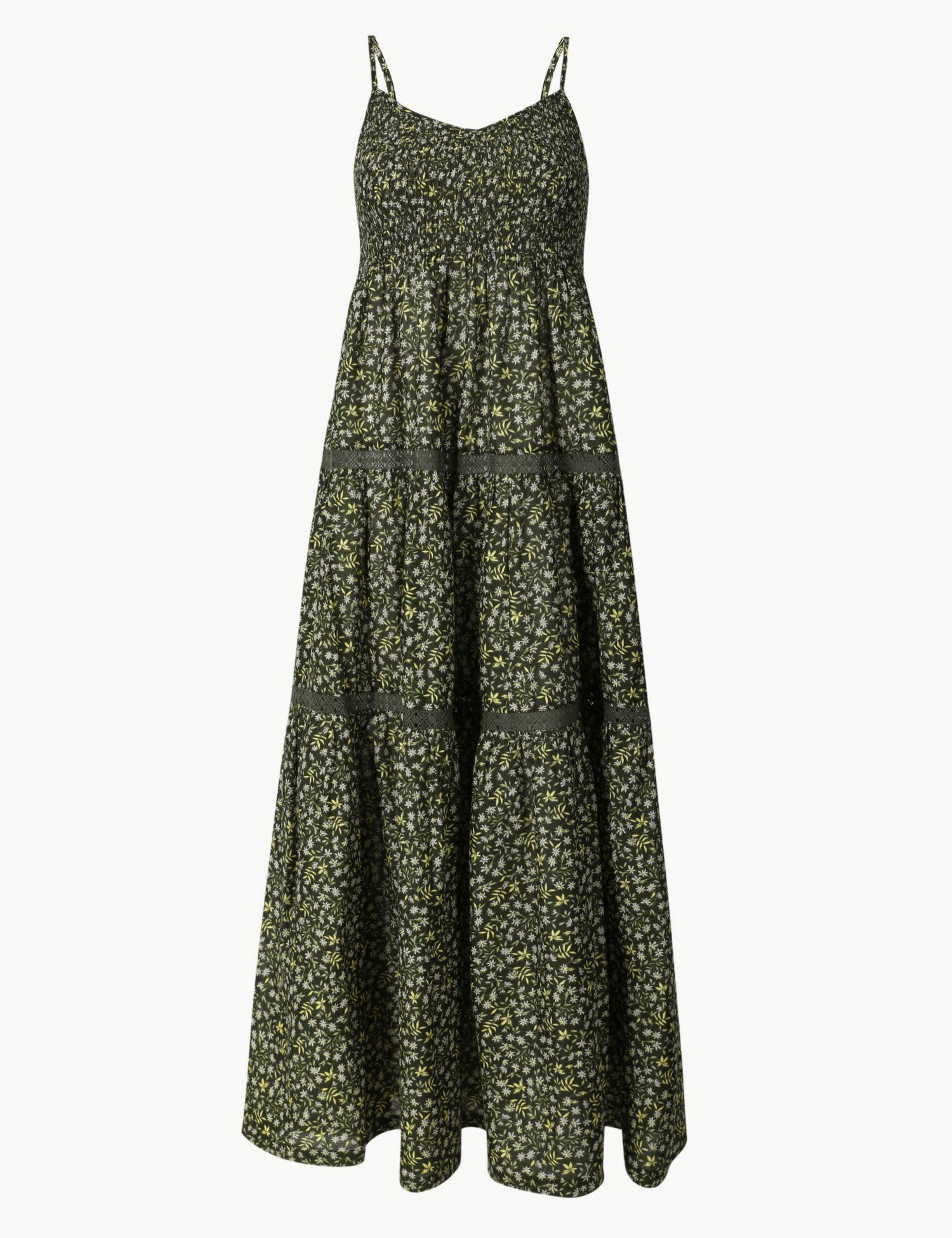 39ff62c724d6 Marks   Spencer. Women s Green Pure Cotton Floral Print Swing Midi Dress