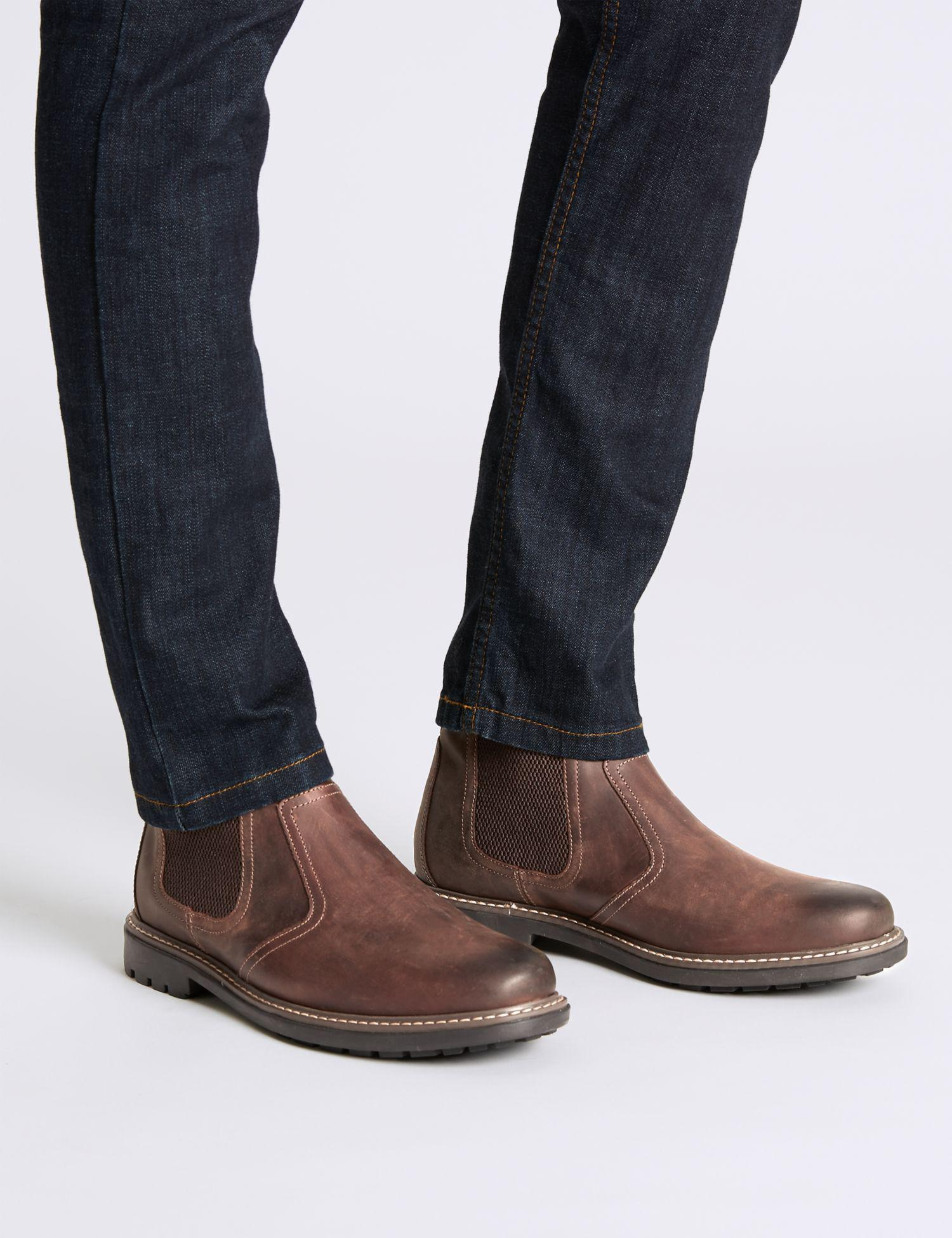 c28bc37ede0 Marks & Spencer Big & Tall Leather Pull-on Chelsea Boots in Brown ...