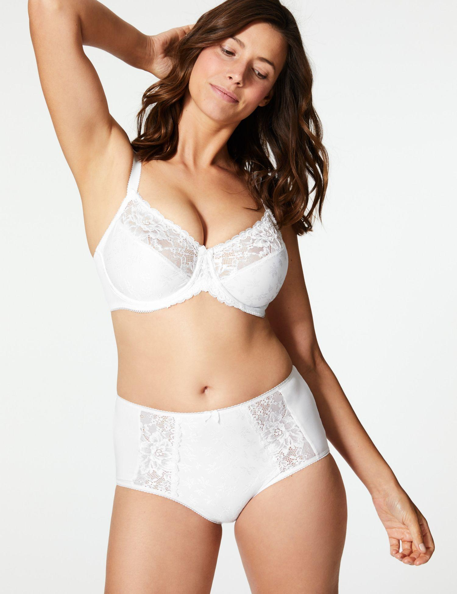 665b922a64 Marks   Spencer Floral Jacquard Lace Minimiser Full Cup Bra C-GG in ...