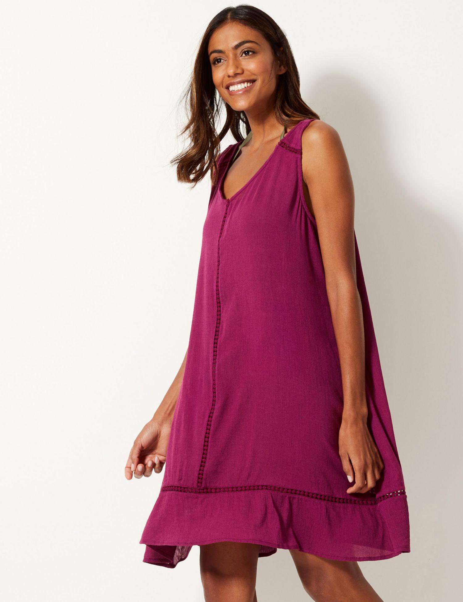 92a8417035bb Marks   Spencer Cotton Rich Crinkle Swing Dress in Purple - Lyst