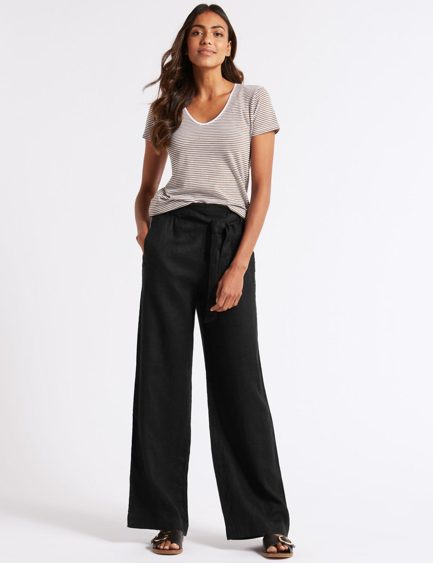 c1167ef555e7c Marks   Spencer Pure Linen Wide Leg Trousers in Black - Lyst