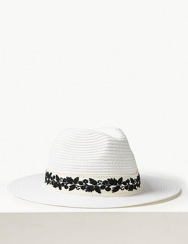 f0fb5860 Lyst - Marks & Spencer Craft Fedora Sun Hat in White