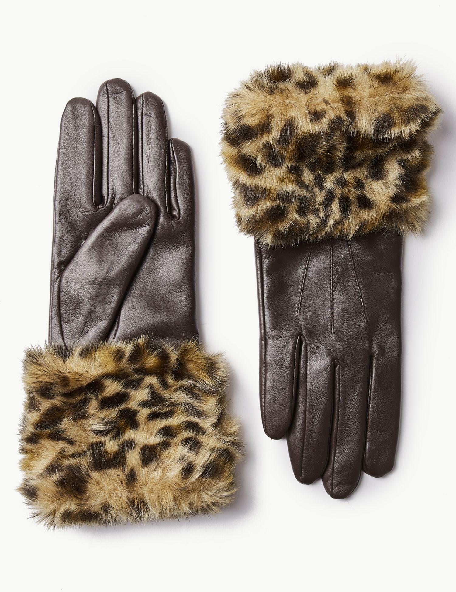 6dc72f9dcde Marks   Spencer Leather Animal Print Faux Fur Gloves in Brown - Lyst
