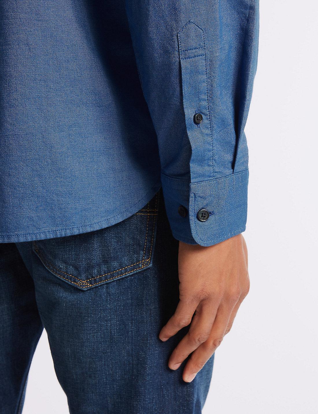 Lyst Marks Spencer Pure Cotton Oxford Shirt With Pocket In Blue Hanger Marksspencer Slim View Fullscreen