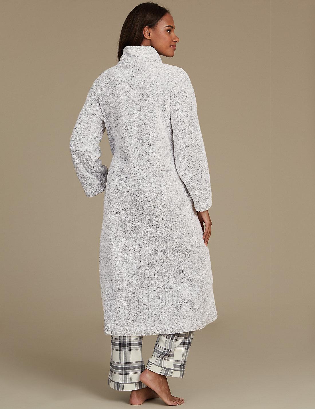 Marks & Spencer Long Sleeve Zip-up Dressing Gown in Gray - Lyst