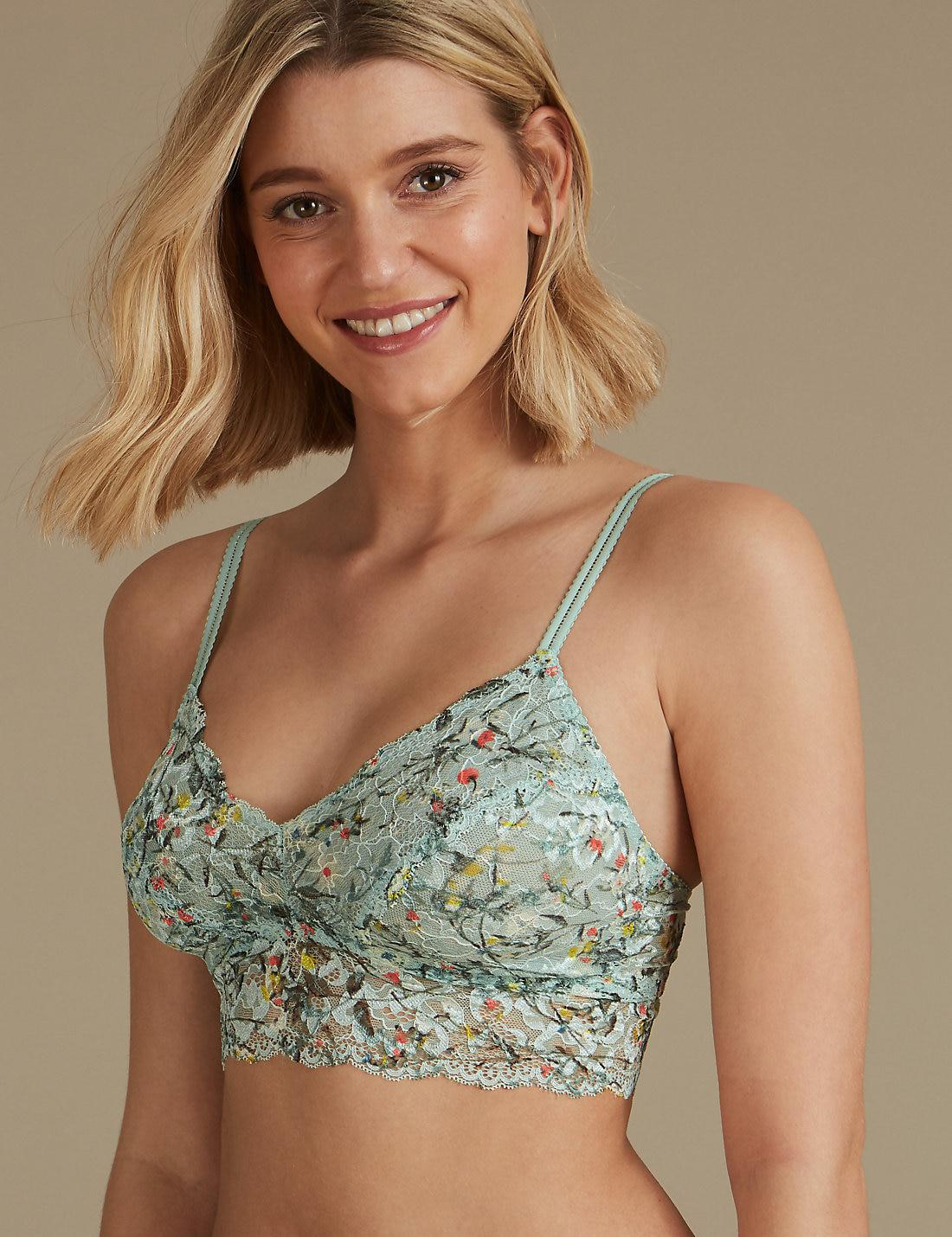 df45d12f8759f Lyst - Marks   Spencer Printed Lace Non-padded Bralet in Green