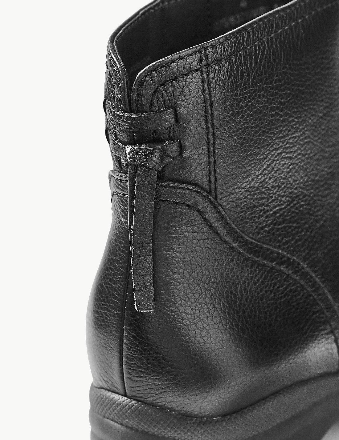21f13c2fe6f3 Marks   Spencer - Black Wide Fit Leather Wedge Heel Ankle Boots - Lyst.  View fullscreen