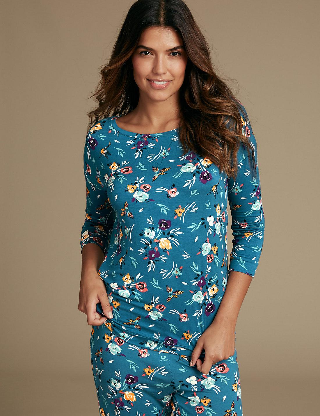 8246087662 Lyst - Marks & Spencer Floral Print Pyjama Top in Blue