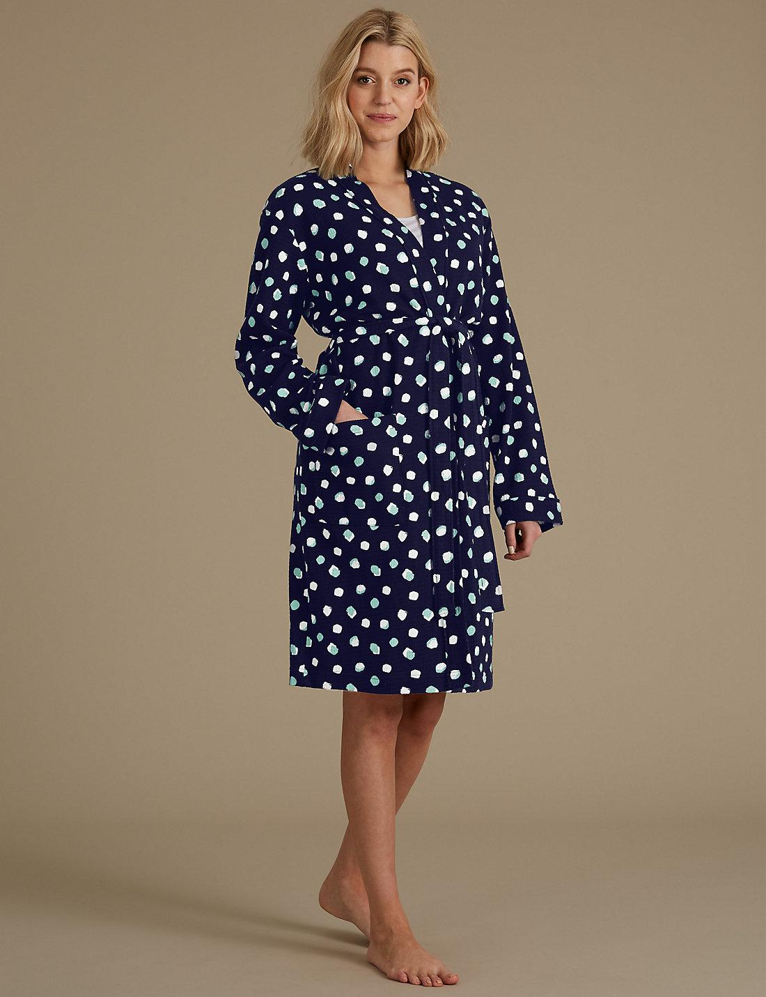 Lyst - Marks & Spencer Pure Cotton Spot Print Waffle Dressing Gown ...
