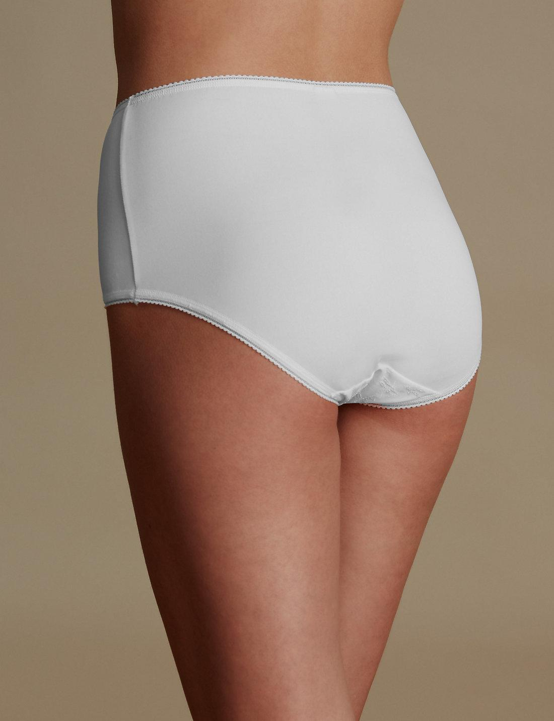 a62cebf9d Marks   Spencer Jacquard Lace High Rise Full Briefs in White - Lyst