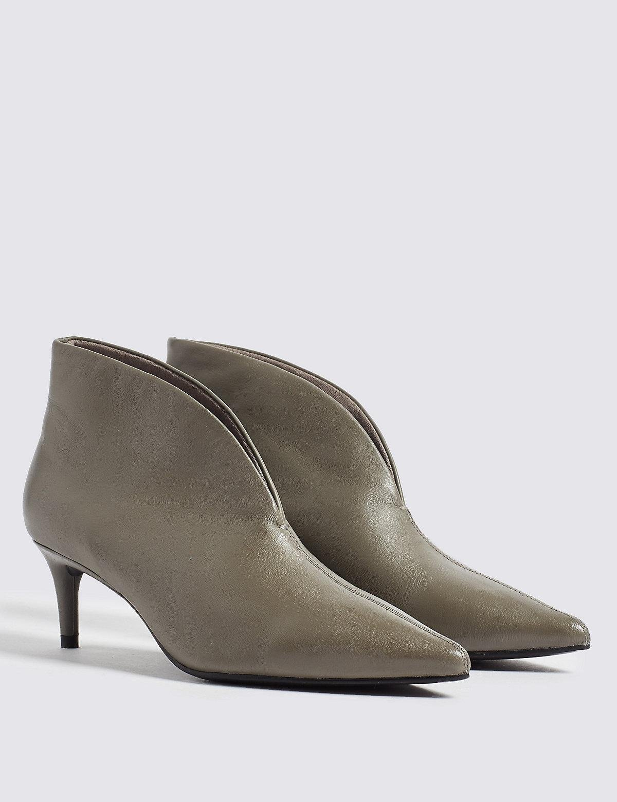 23a8ce7439e60 Marks & Spencer Leather Kitten Heel Shoe Boots in Gray - Lyst
