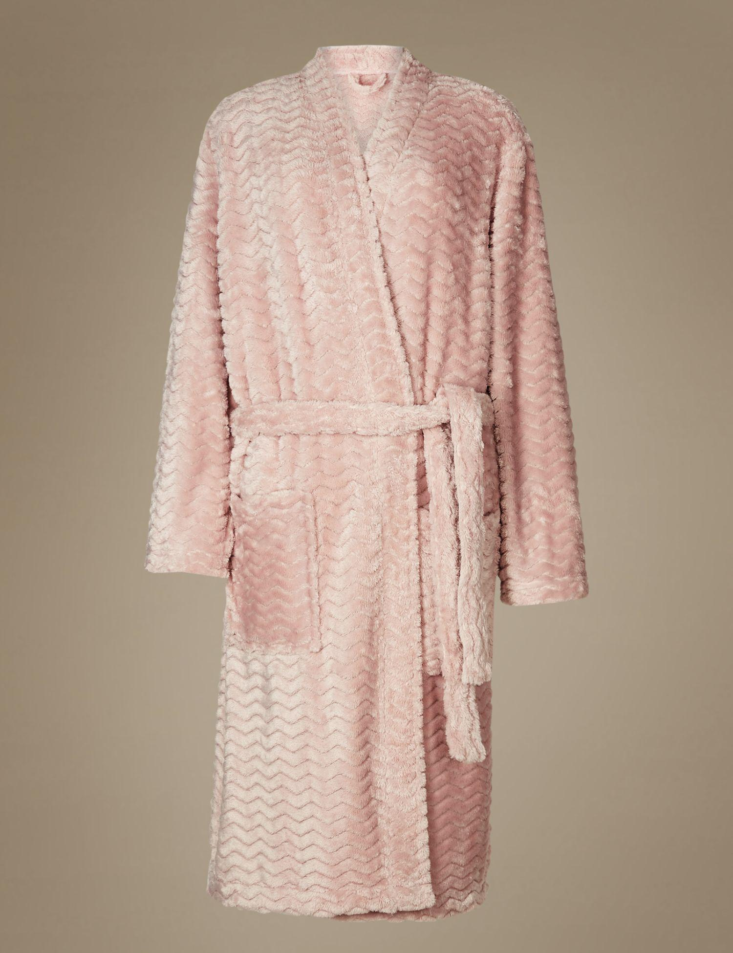 1097847f34 Marks   Spencer Textured Supersoft Kimono Dressing Gown in Pink - Lyst