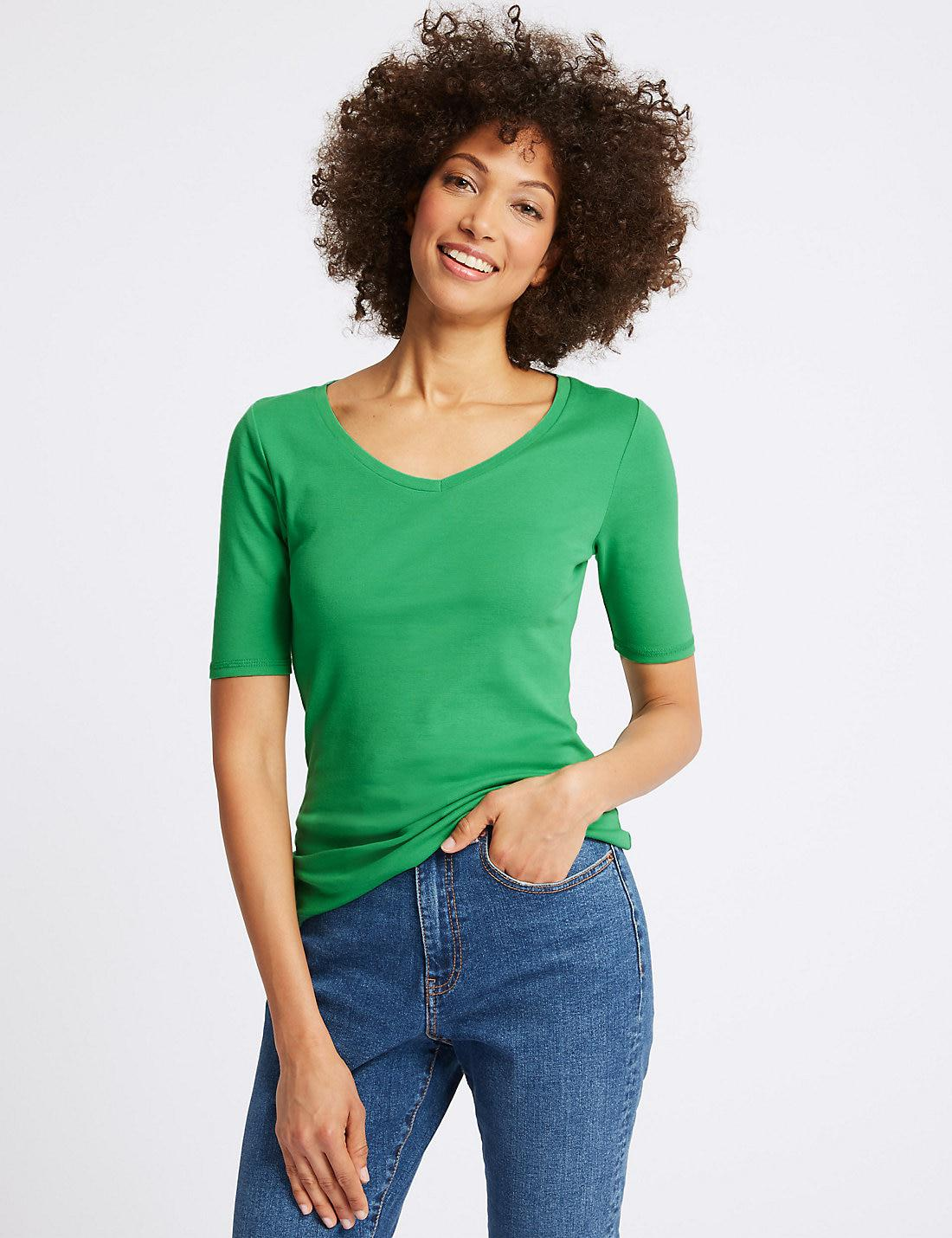 Pure Cotton V-Neck Half Sleeve T-Shirt green Marks and Spencer Original Cheap Online Buy Cheap Official jz9Ip3x