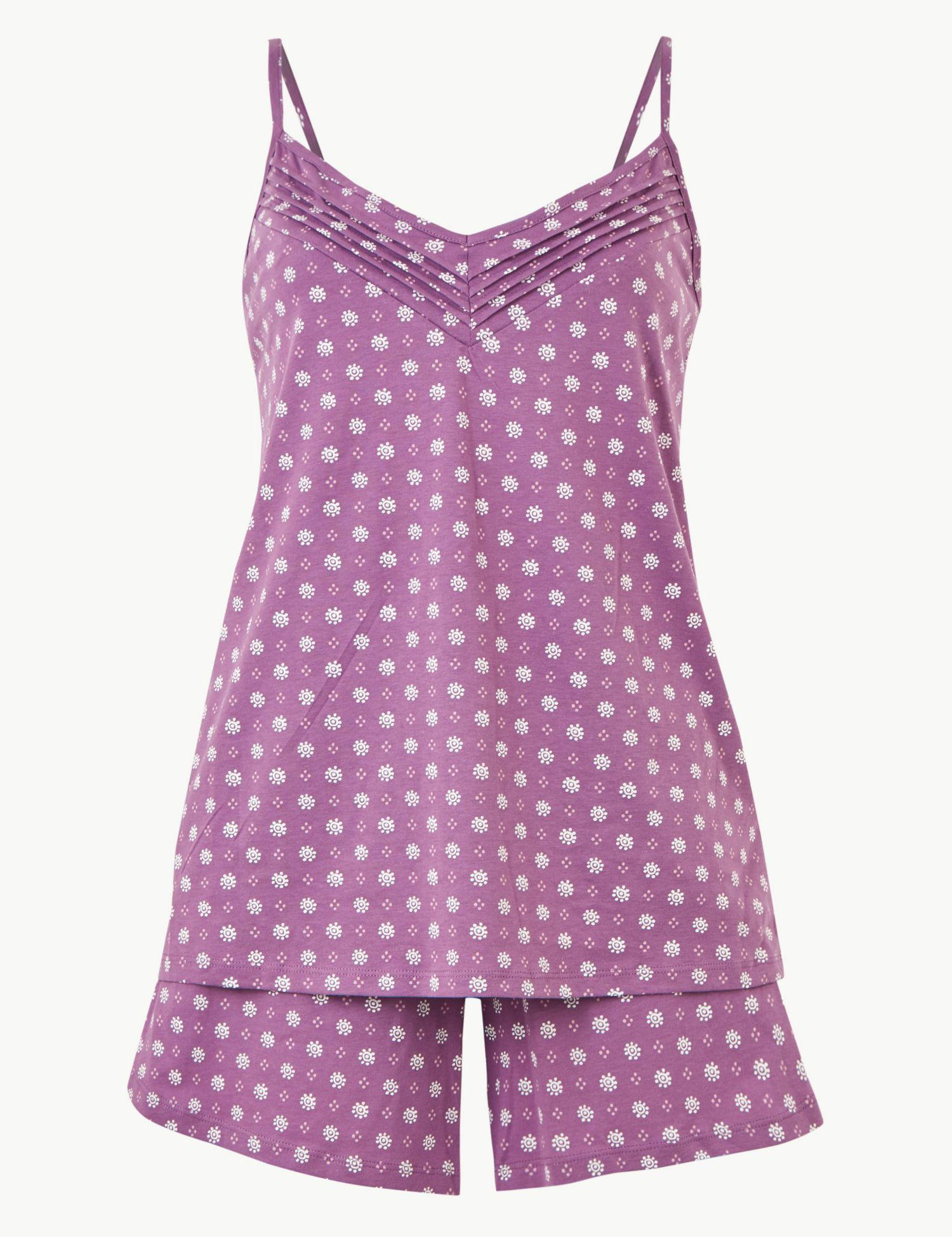 f9e3173df2d Marks   Spencer Pure Cotton Printed Strappy Pyjama Set in Purple - Lyst