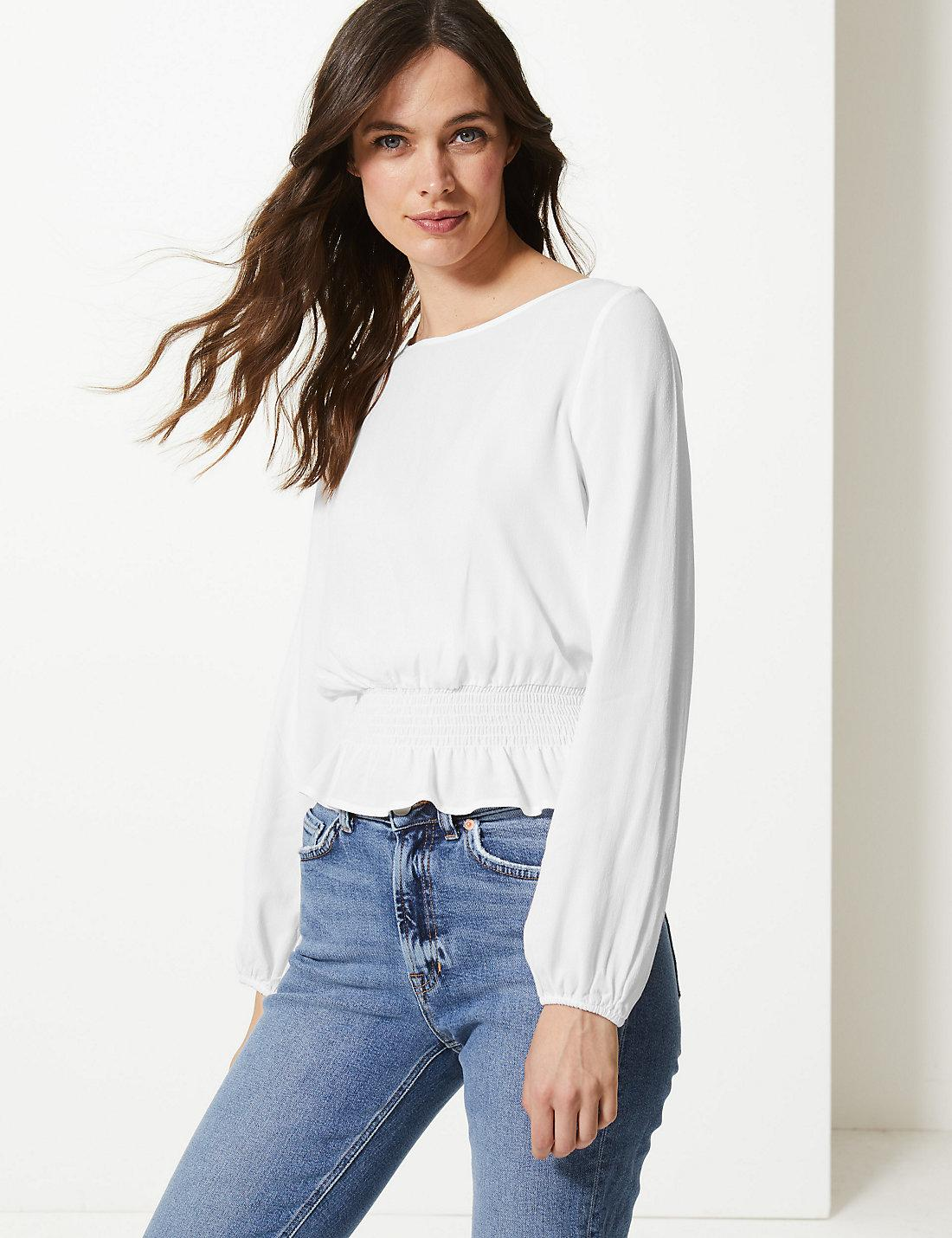 b02837eb965fd2 Lyst - Marks & Spencer Round Neck Long Sleeve Blouse in White