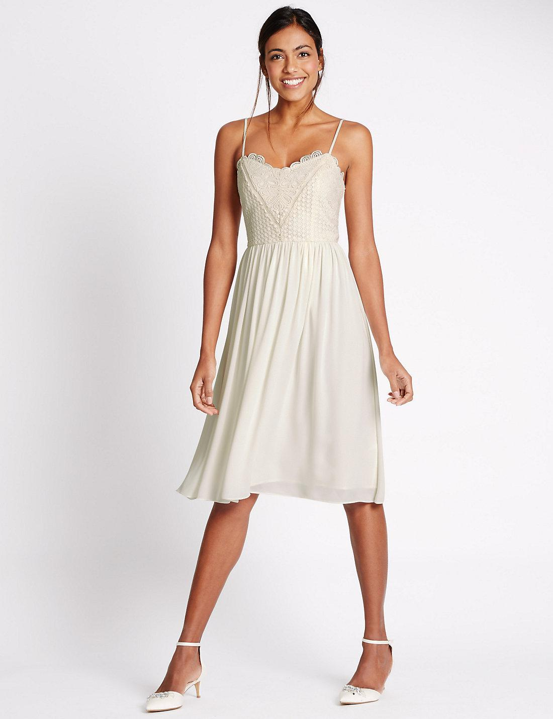 deaa015577 Marks & Spencer Floral Lace Slip Dress in White - Lyst