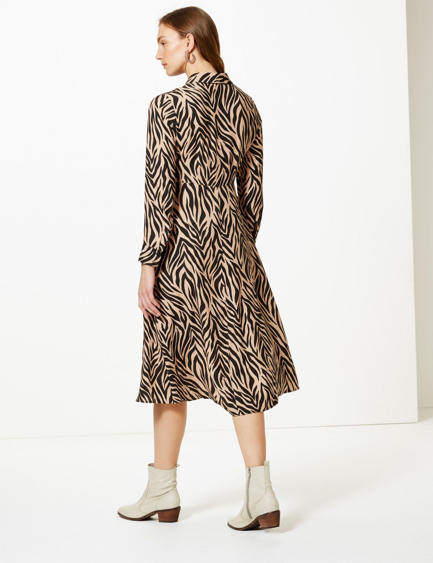 b4a8d54d9993 ... Animal Print Midi Shirt Dress - Lyst. View fullscreen