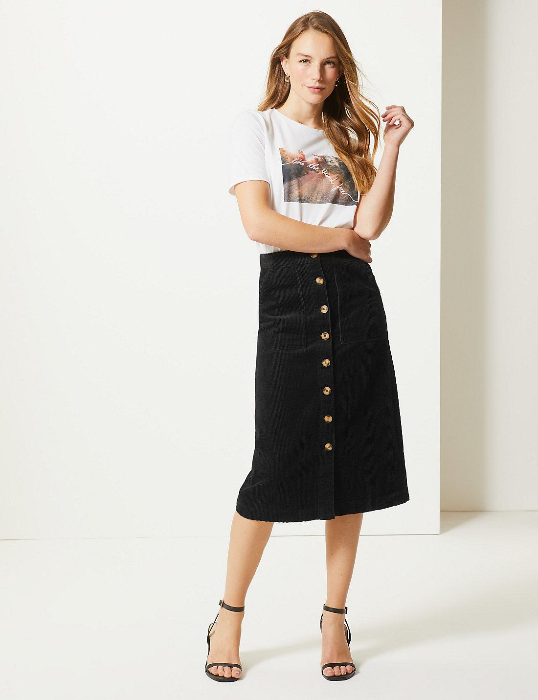 e5c231b389 Lyst - Marks & Spencer Pure Cotton A-line Midi Skirt in Black