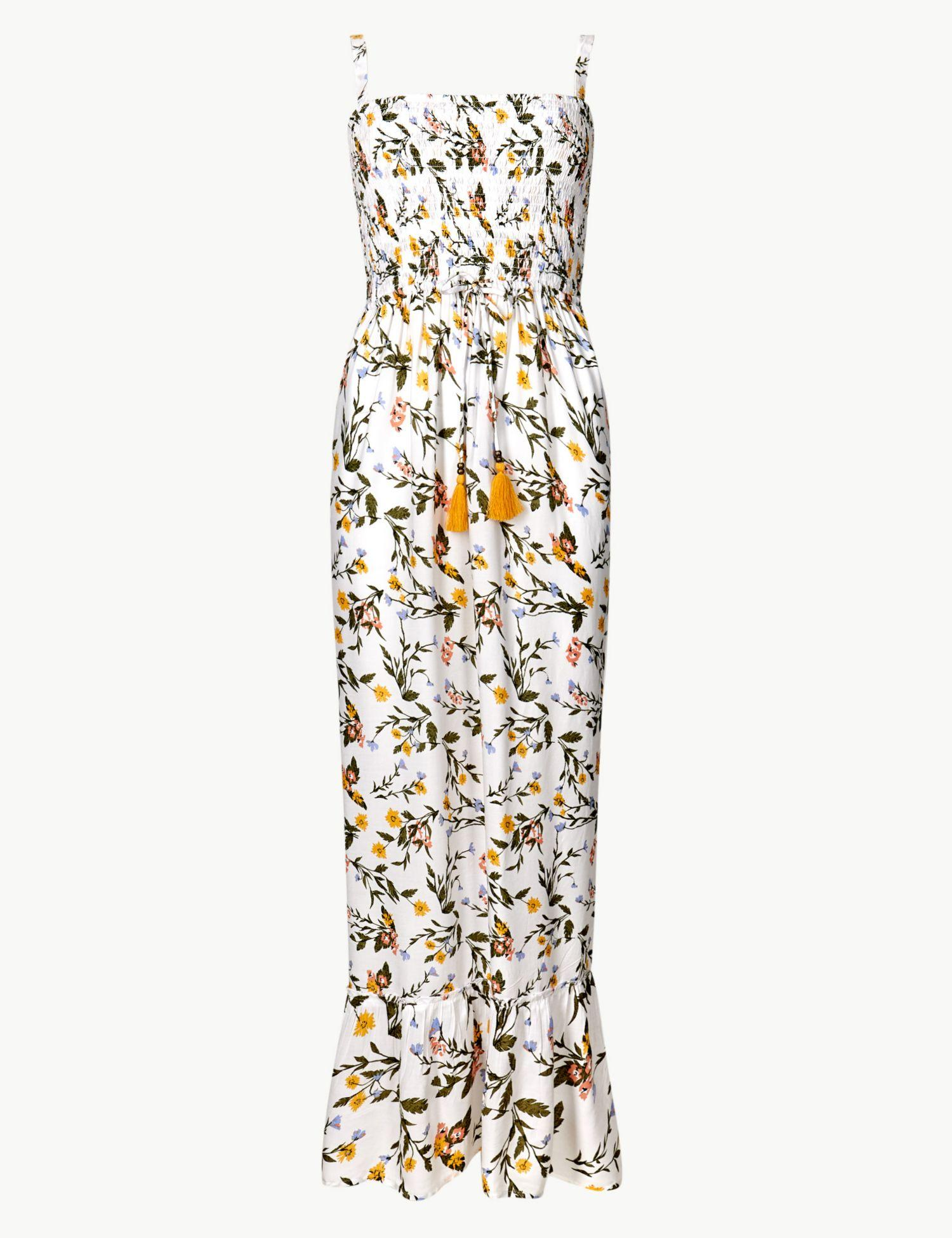 6e1e5975ae53 Marks   Spencer Floral Print Strappy Waisted Beach Dress in White - Lyst