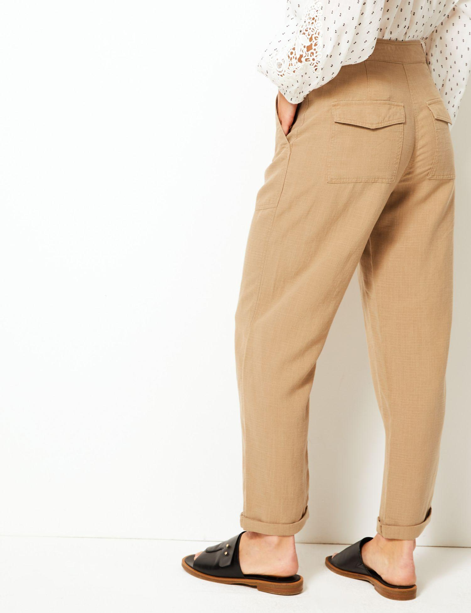 a652edc745 Marks   Spencer Linen Blend Ankle Grazer Peg Trousers in Natural - Lyst