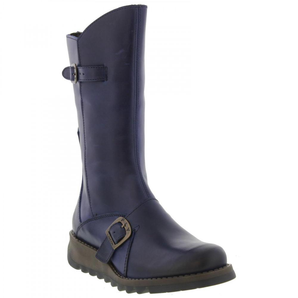9636fc46 Fly London Mes 2 Mid Calf Wedge Zip Up Boots in Blue - Lyst
