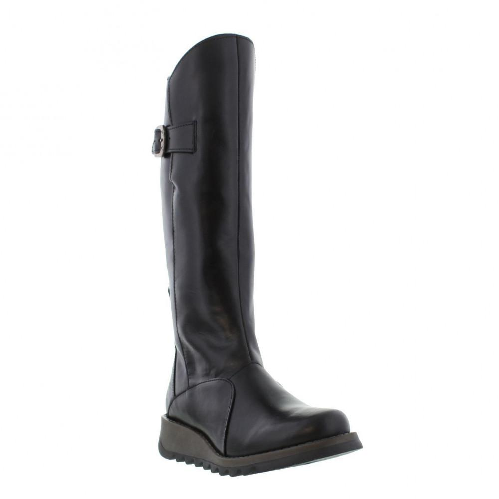 16842864ab8e Fly London Mol 2 Knee High Wedge Boots in Black - Save 12% - Lyst