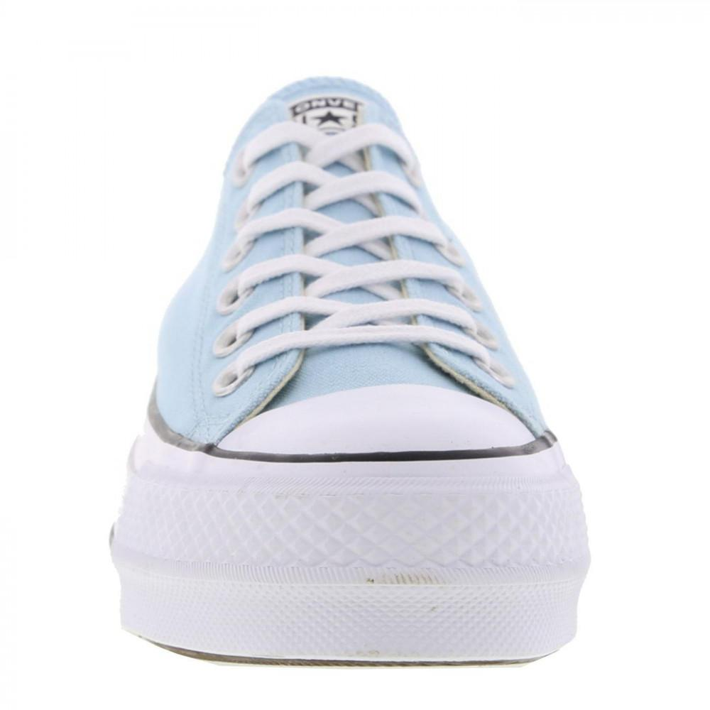 db4dc099dd62da Converse All Star Low Platform Trainers Lift Ox Chunky Shoes in Blue ...