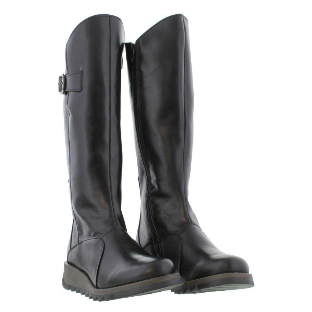 8dc7d5fdfa2e Fly London - Black Mol 2 Knee High Wedge Boots - Lyst. View fullscreen