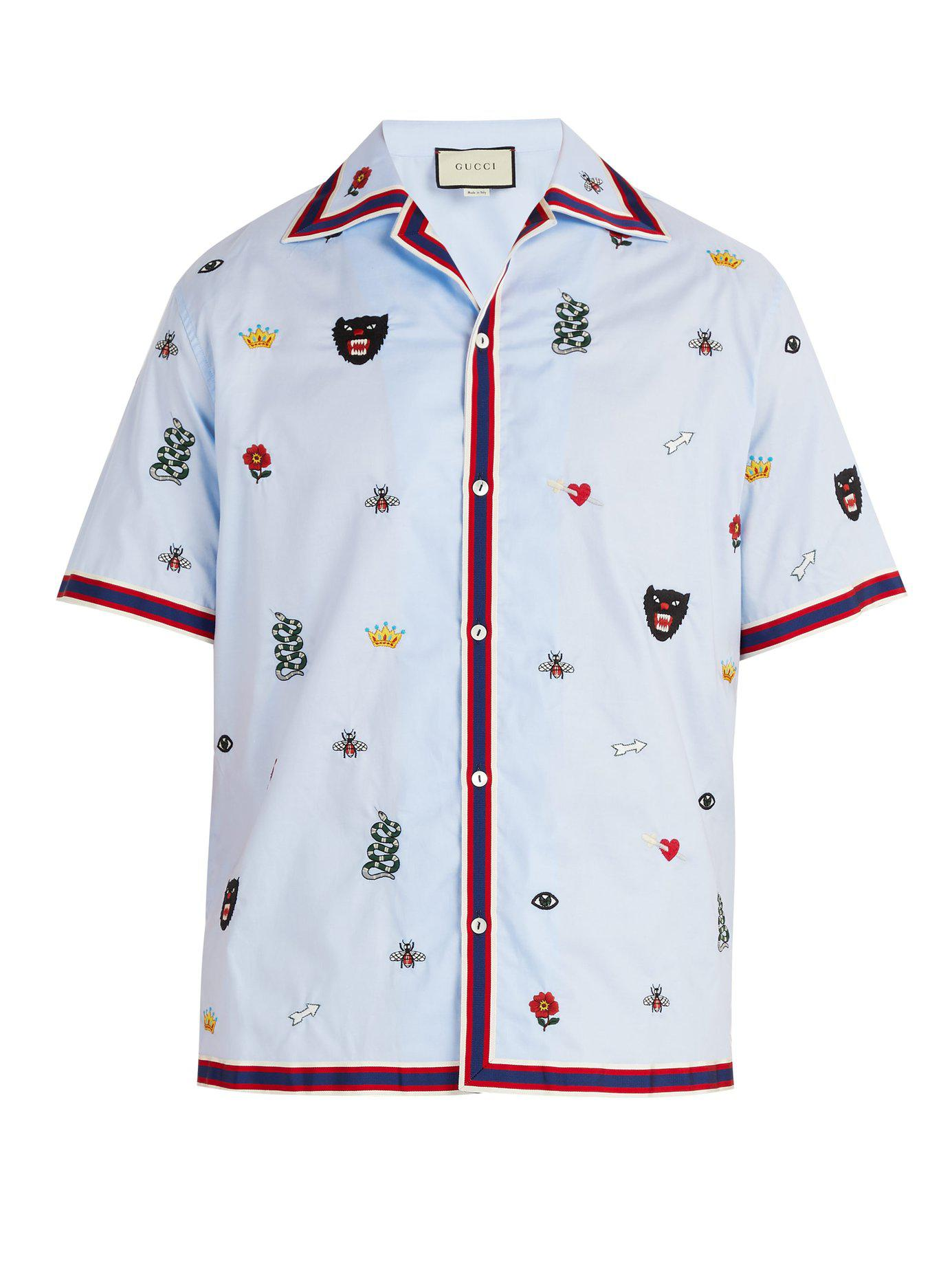 c25766f7683 Gucci - Blue Motif Embroidered Bowling Shirt for Men - Lyst. View fullscreen