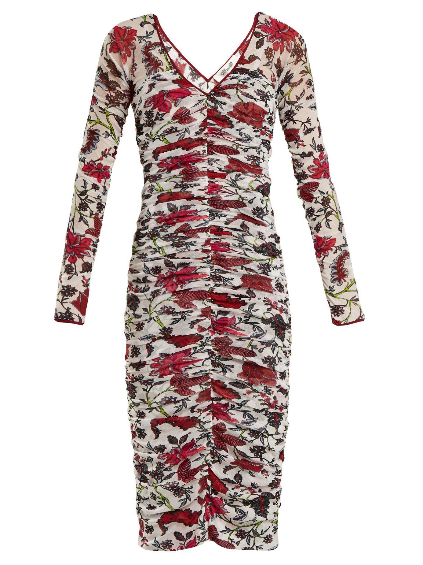 5036b4d7a91a3 Diane von Furstenberg Canton Print Ruched Mesh Dress in White - Lyst