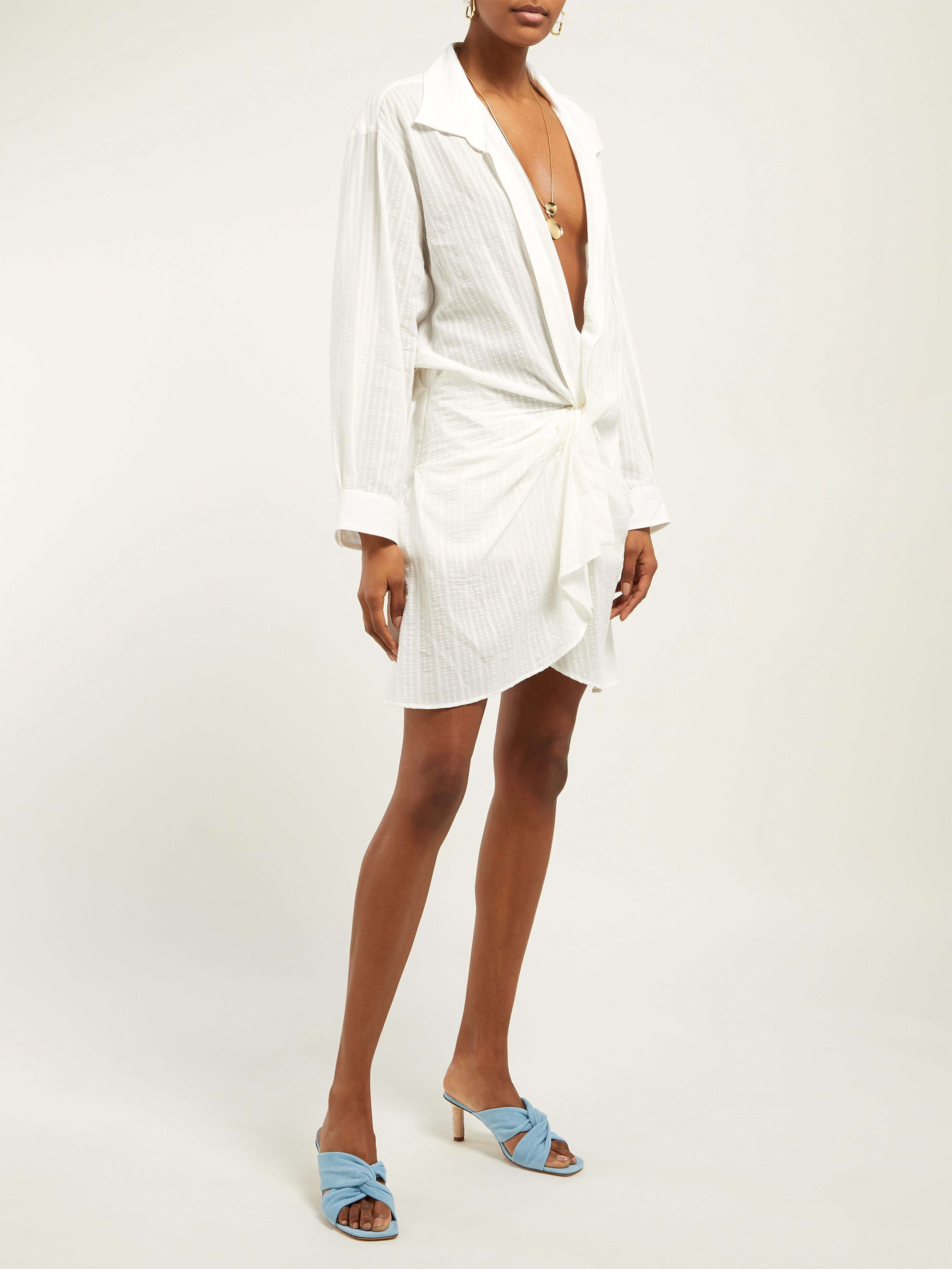 a00ee8fe88 Jacquemus Alassio Knot Front Cotton Blend Dress in White - Lyst