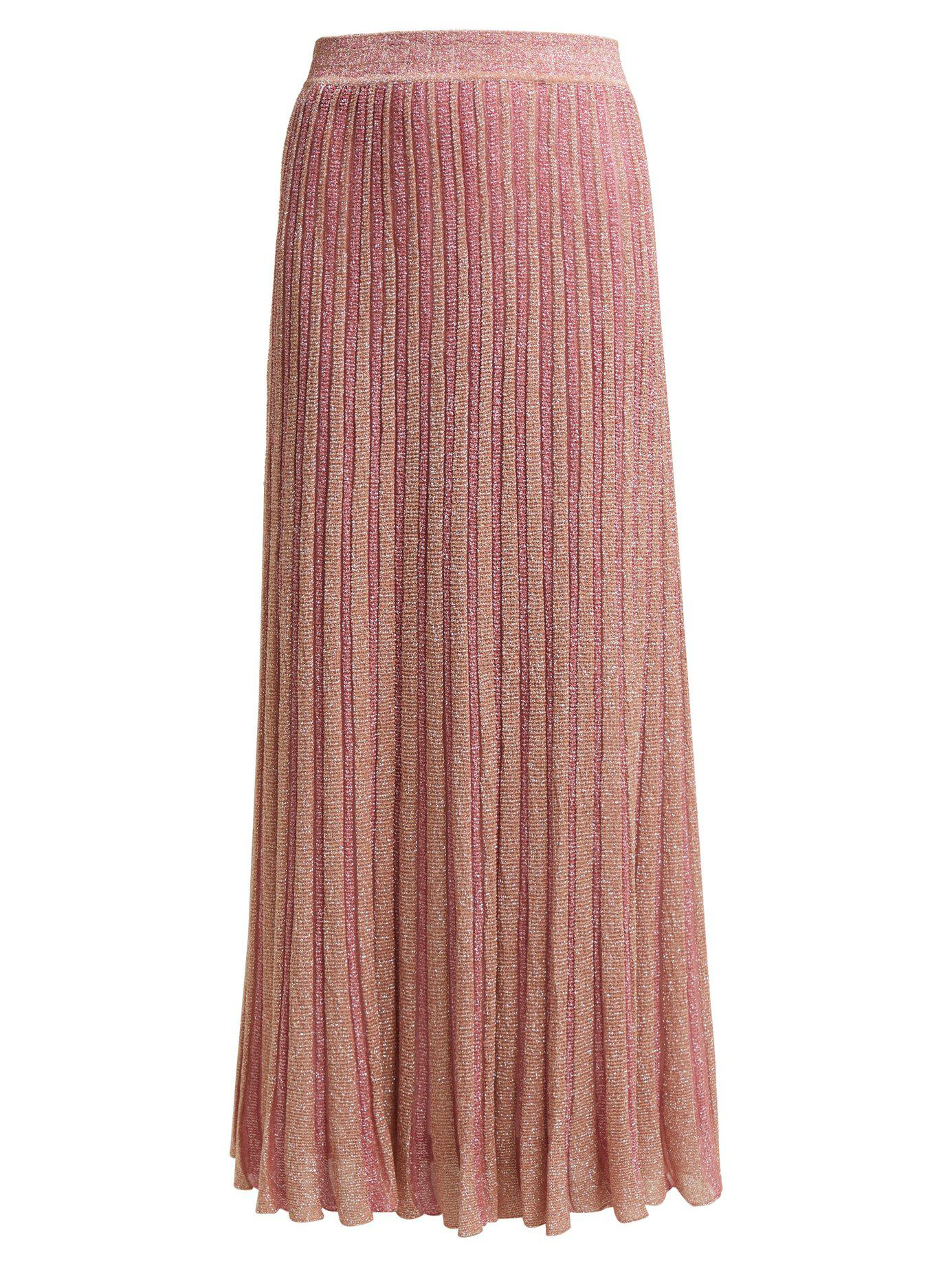 a64e58c8ff19 Lyst - Missoni Ribbed Knit Lamé Skirt in Pink - Save 35%