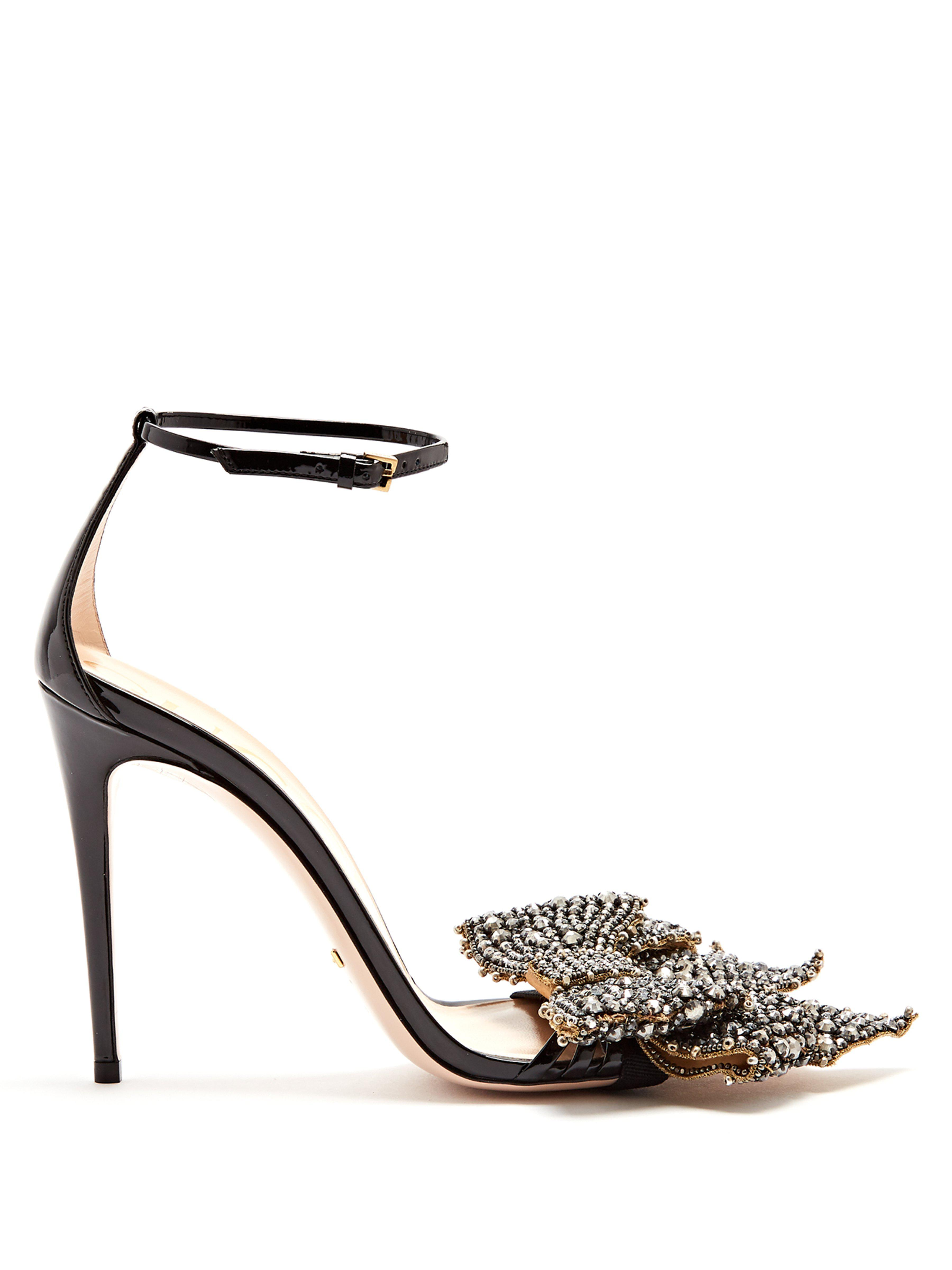 6aed67ffa942 Gucci Crystal-embellished Detachable-bow Leather Sandals in Black - Lyst