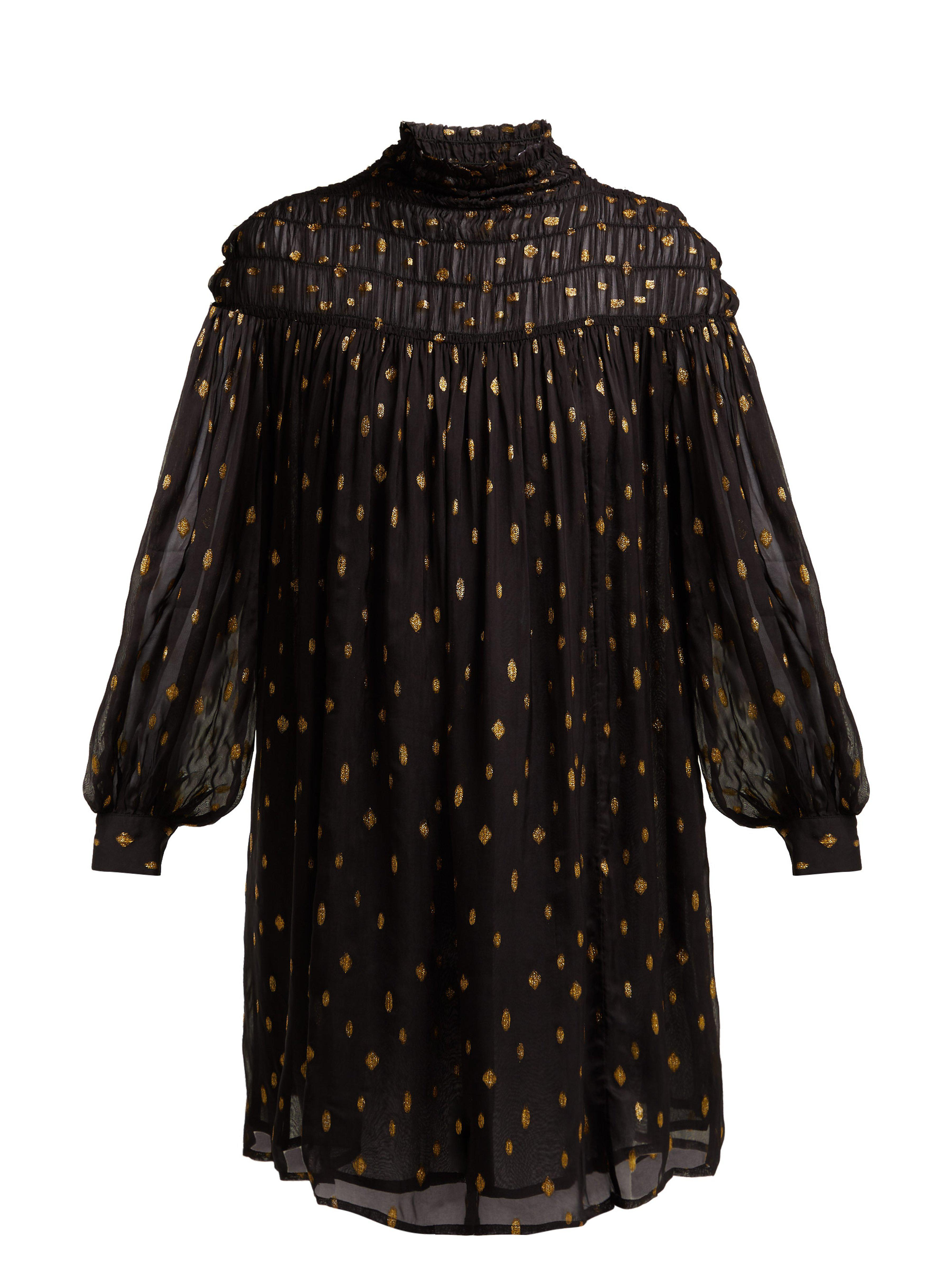5159aa9c4e9b27 FRAME Smocked Polka Dot Fil Coupé Mini Dress in Black - Lyst