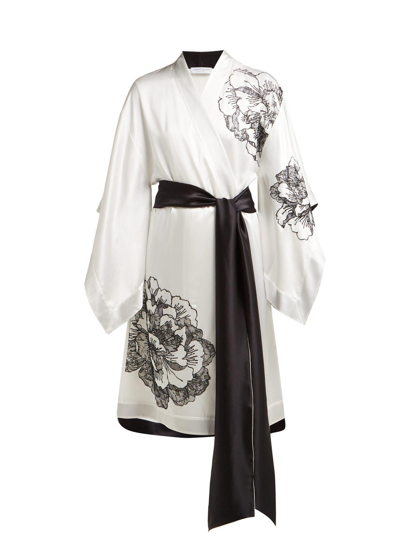 6256edeee1 Carine Gilson. Women s Lace Embellished Silk Satin Kimono Robe