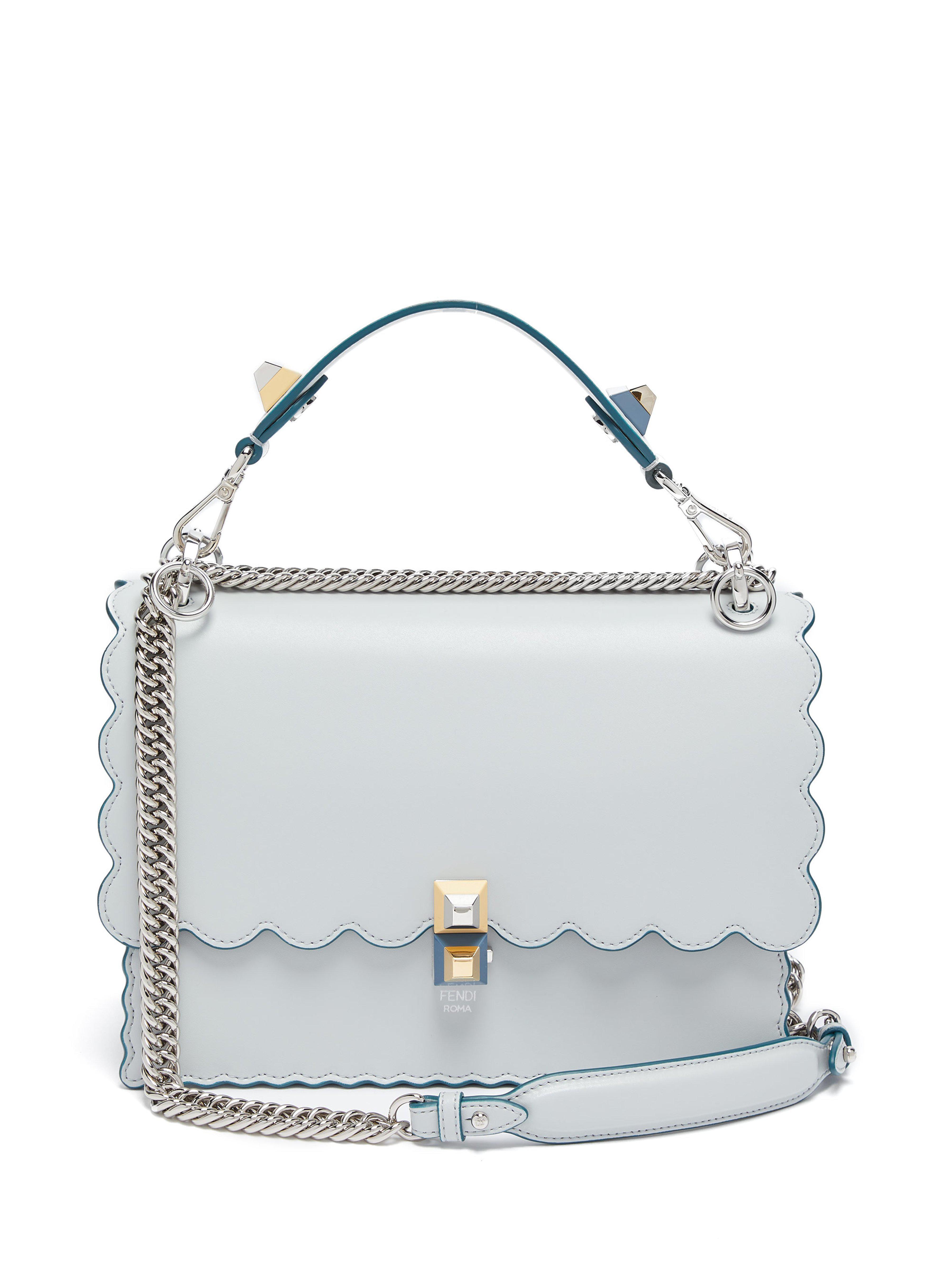 a9b46db2f6fd Fendi Kan I Leather Shoulder Bag in Blue - Lyst
