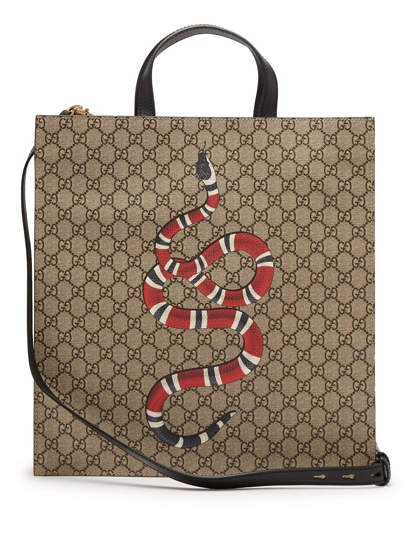 Lyst - Gucci Gg Supreme And Kingsnake Print Tote Bag in Natural for Men 8aeffeecf2