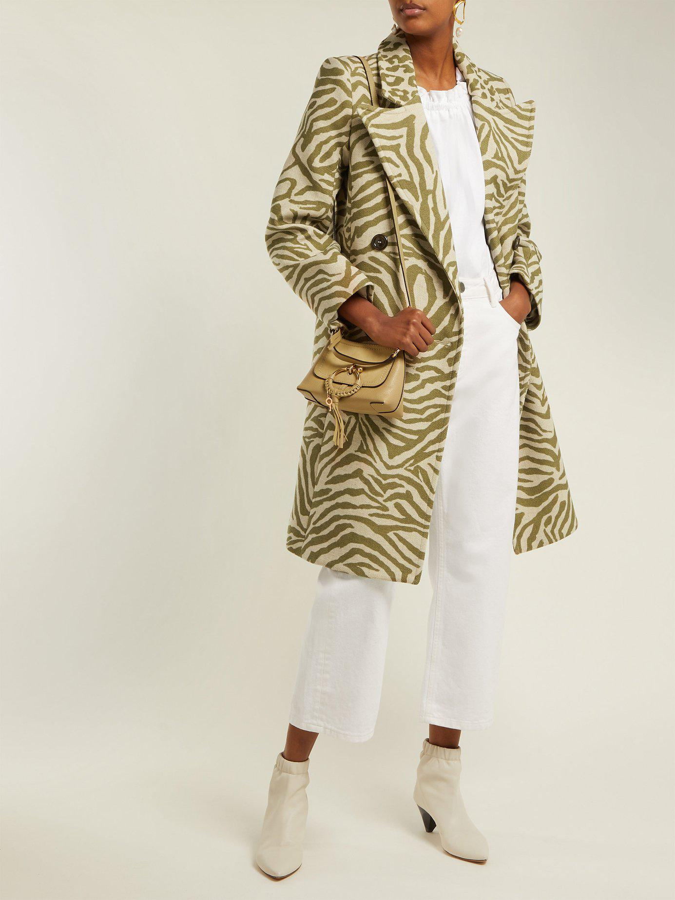 112278425 Lyst - See By Chloé Tiger Print Wool Blend Coat in Natural