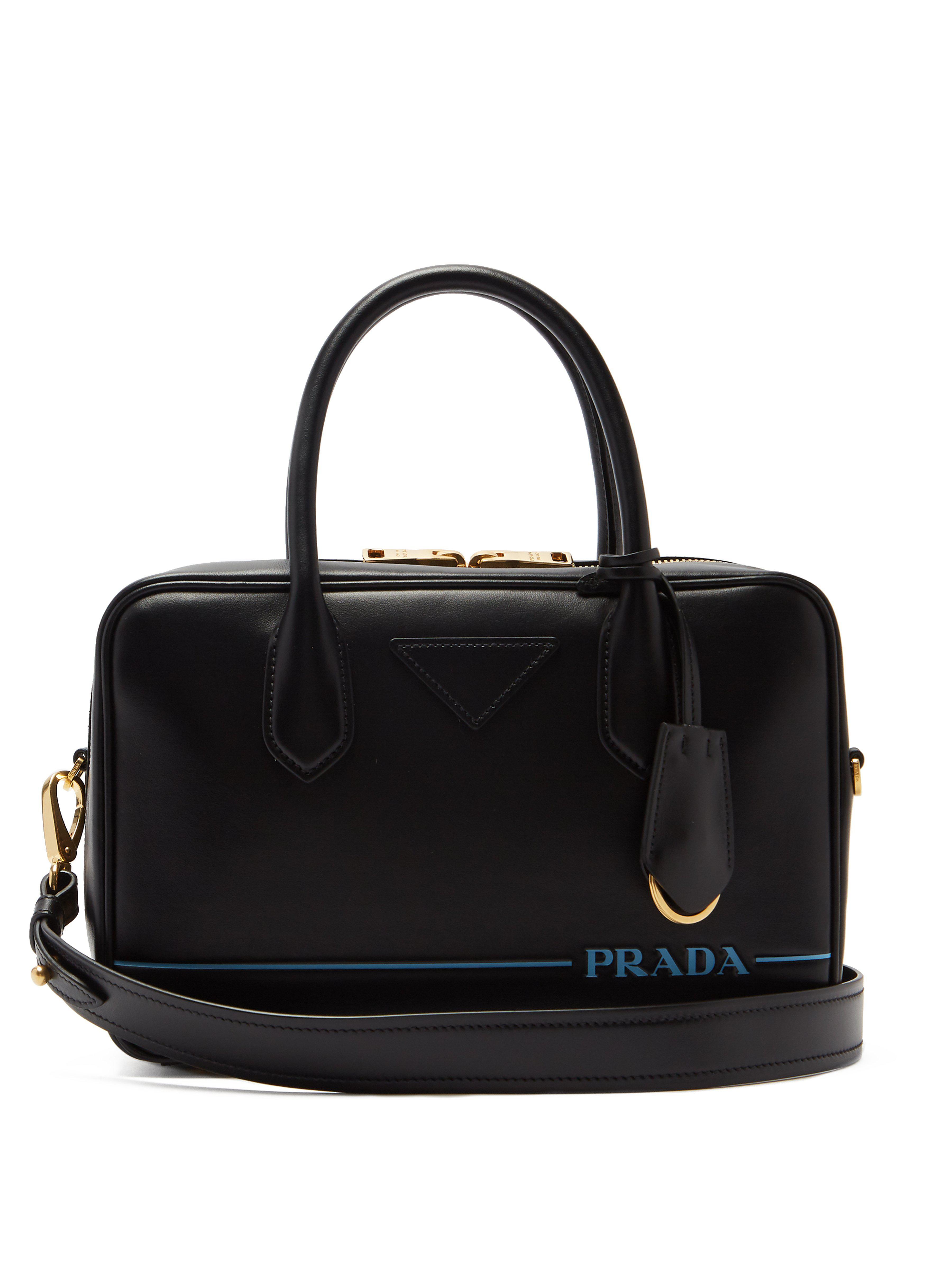 9d7c8b7fb11013 Prada Mirage Leather Bowling Bag in Black - Lyst
