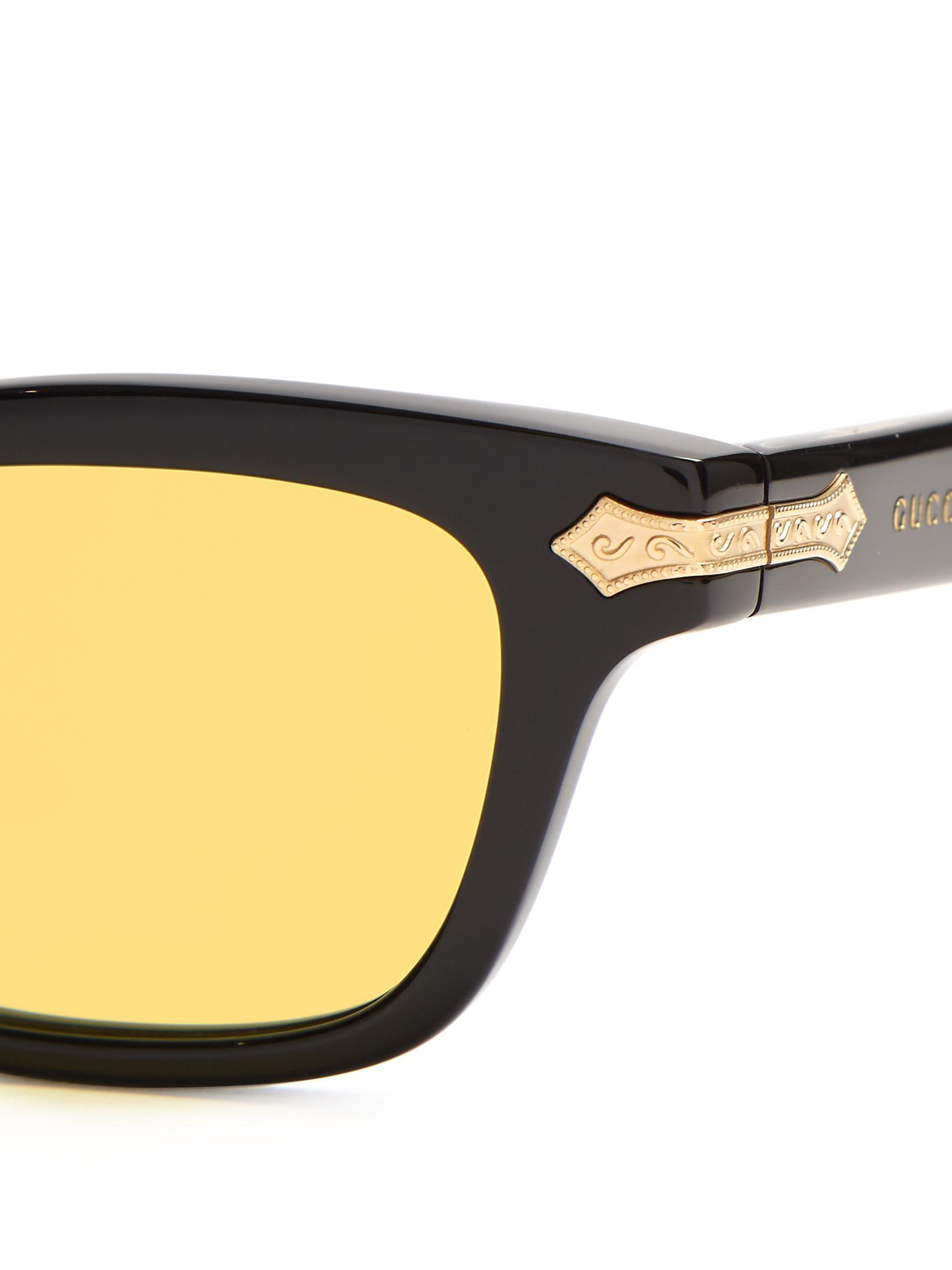 a580d91ff0e1e Gucci Rectangle-frame Acetate Sunglasses in Black for Men - Lyst